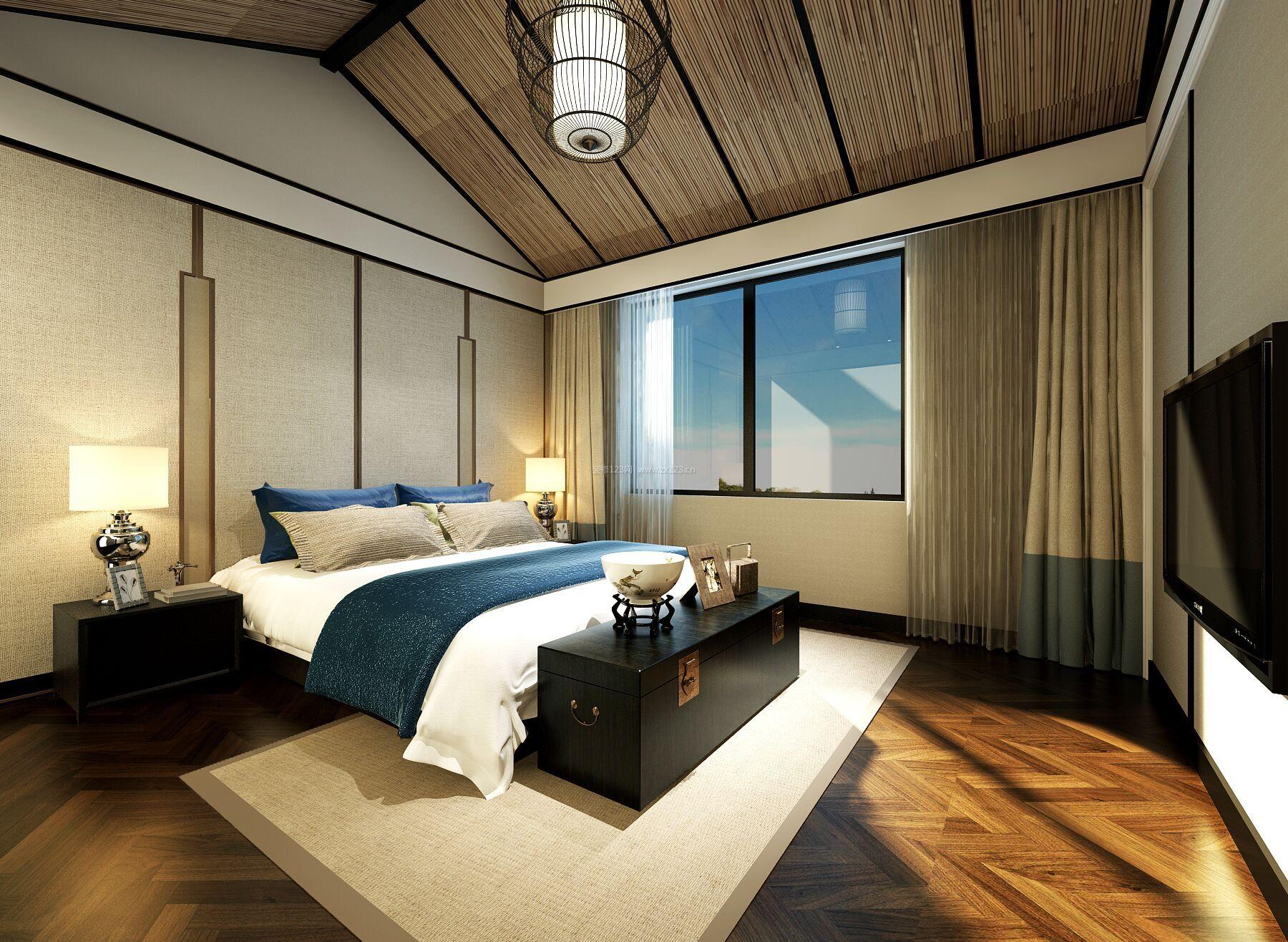 新中式风格别墅阁楼卧室装修效果图
