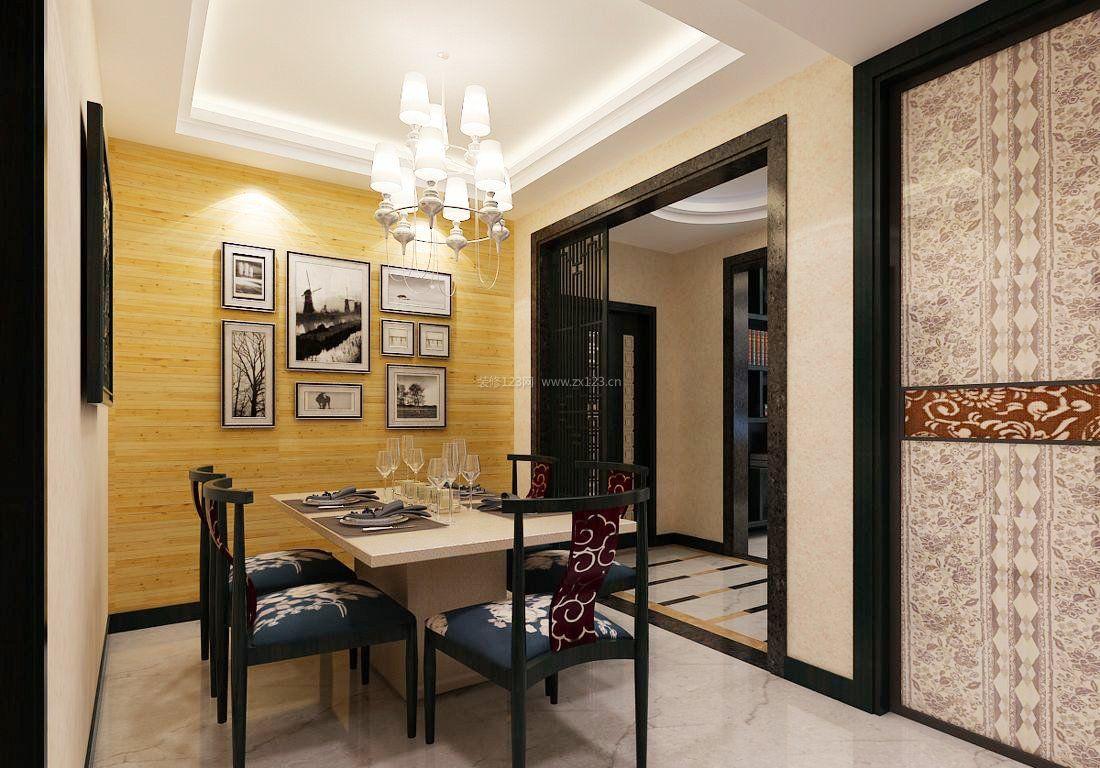 新中式风格装饰元素餐厅背景墙造型图片