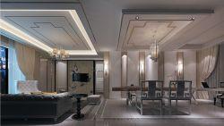 新中式家装风格客餐厅吊顶设计效果图图片