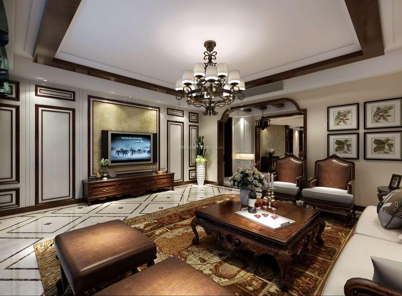 美式风格室内客厅电视墙设计装修效果图