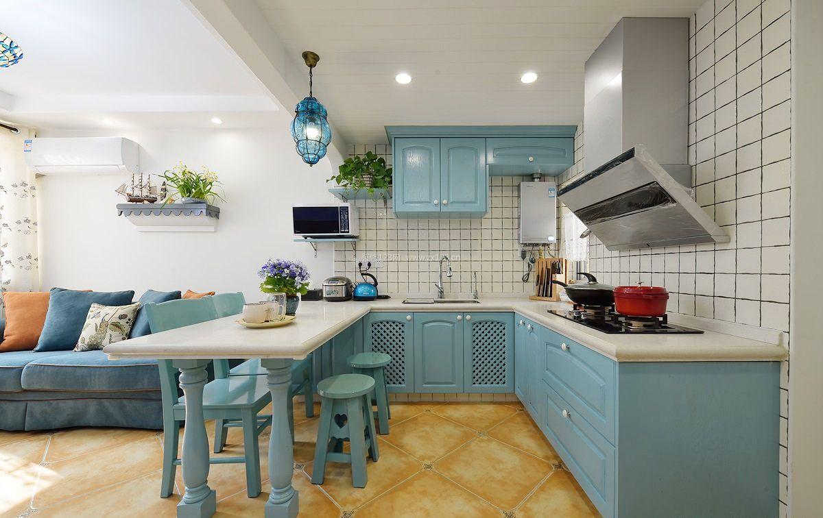 地中海风格家庭厨房装修效果图大全2017图片