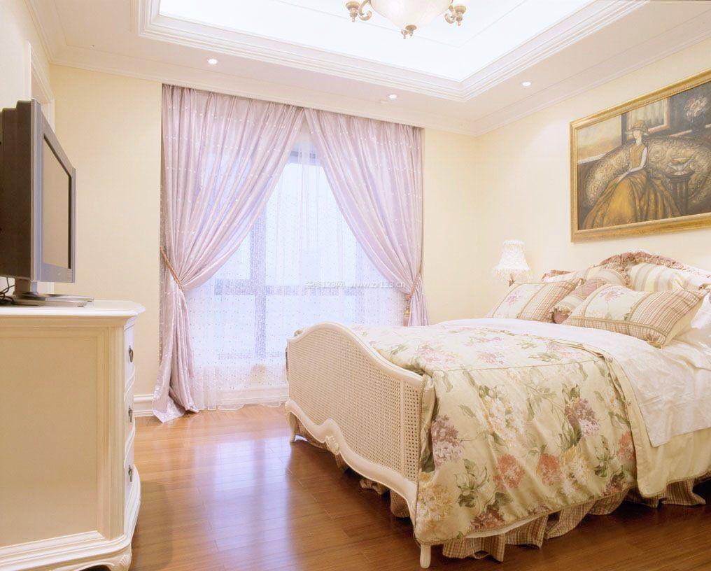 欧式田园女生卧室窗帘装修设计效果图图片
