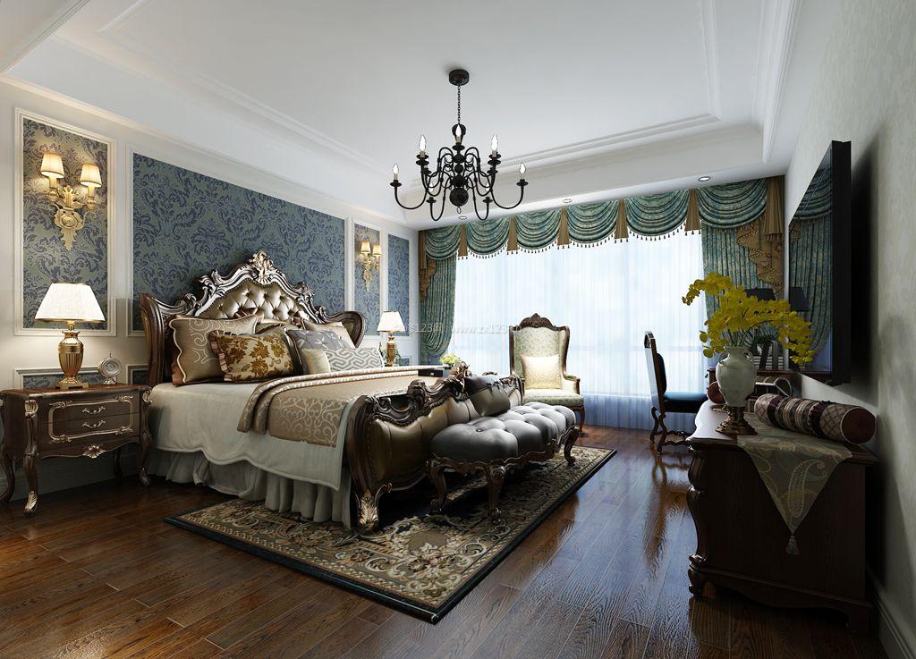 美式风格卧室床头背景墙装修设计效果图片
