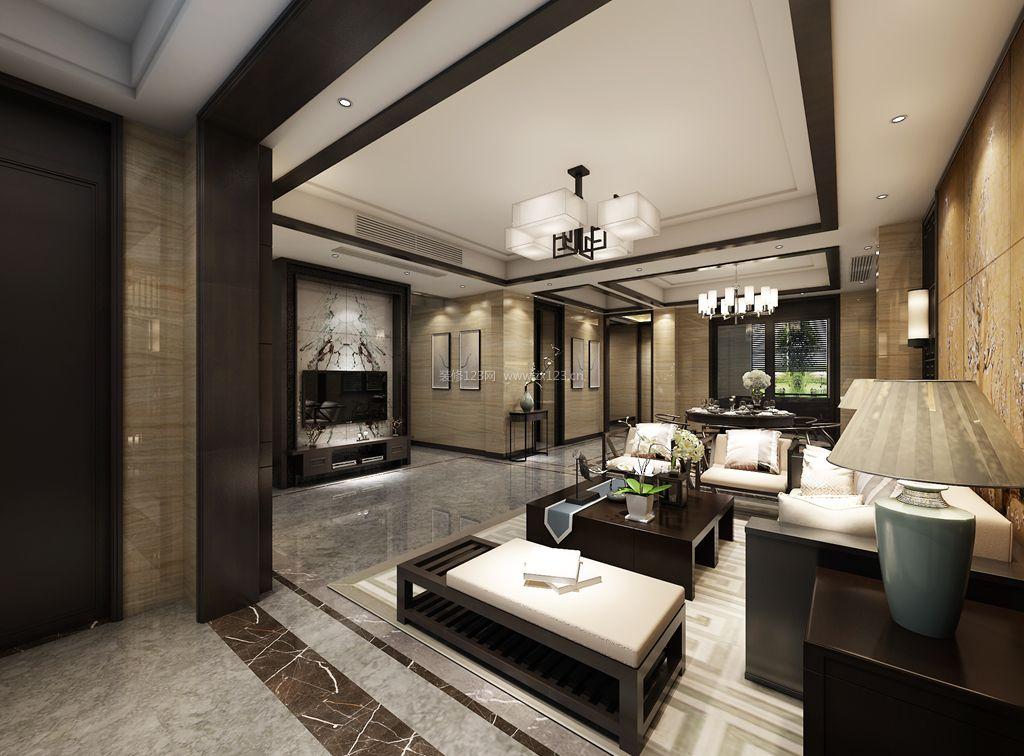 新中式风格客厅电视墙装修效果图片图片