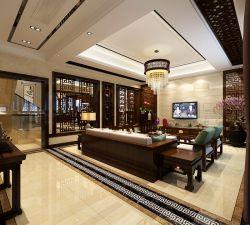 新中式別墅客廳大理石電視背景墻裝修效果圖片
