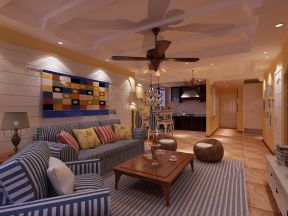 地中海客厅装修效果图 布艺沙发装修效果图片