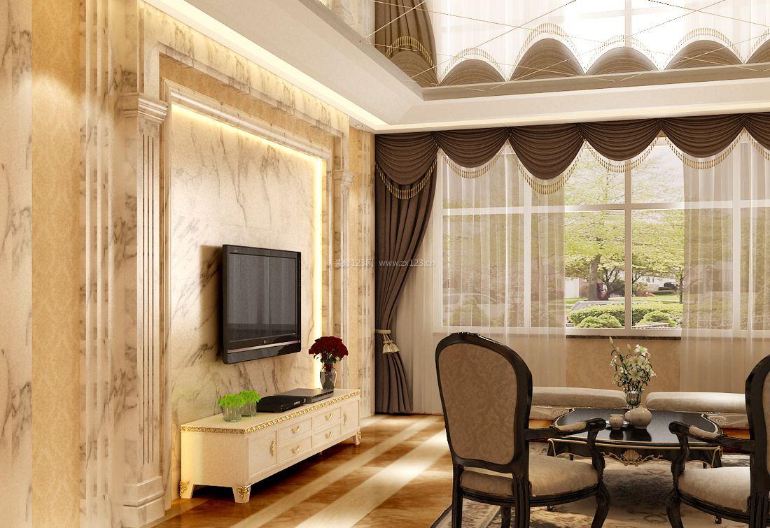 房屋客厅瓷砖铺贴效果图_装修123效果图
