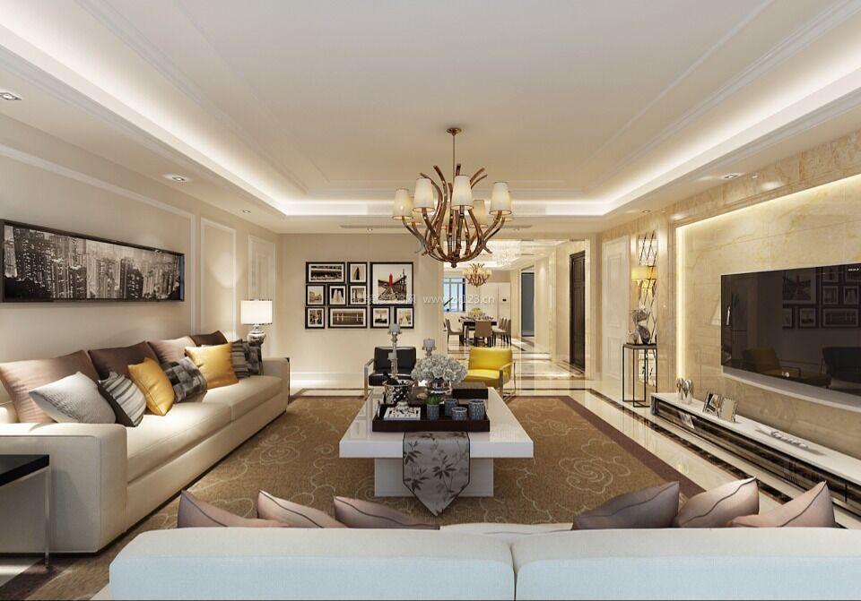 现代简欧风格客厅白色茶几装修效果图片欣赏