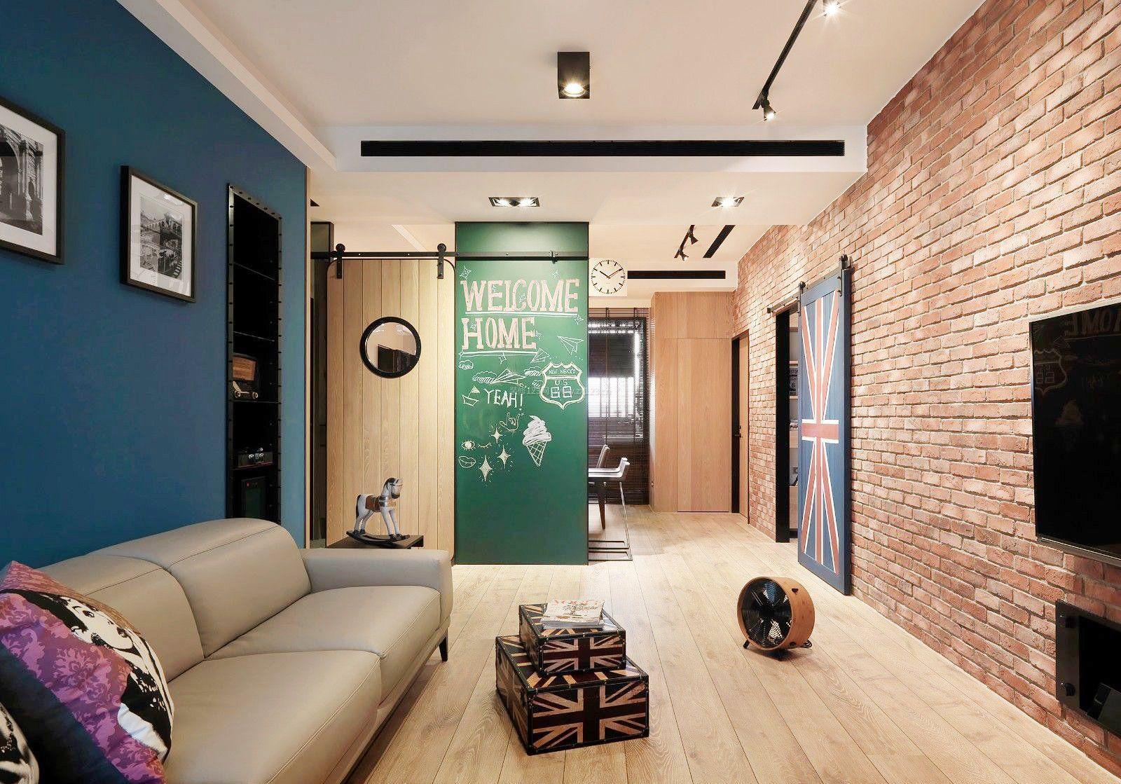 客厅仿古砖墙面装修效果图大全2017图片