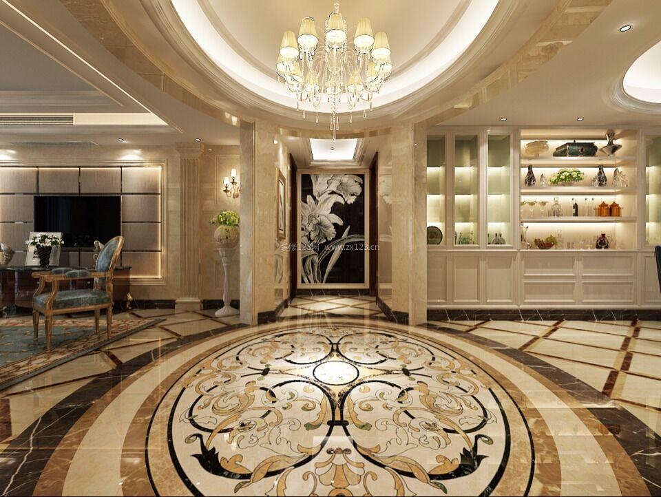 欧式别墅室内靠墙酒柜装修效果图图片
