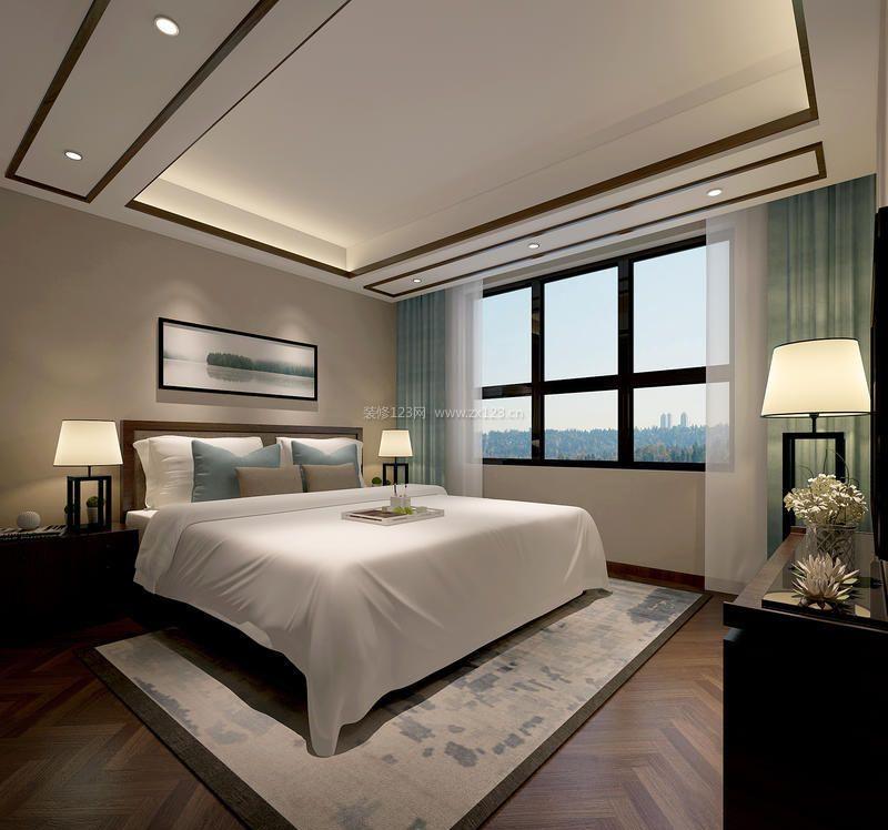 简约中式卧室布艺窗帘装修效果图片图片
