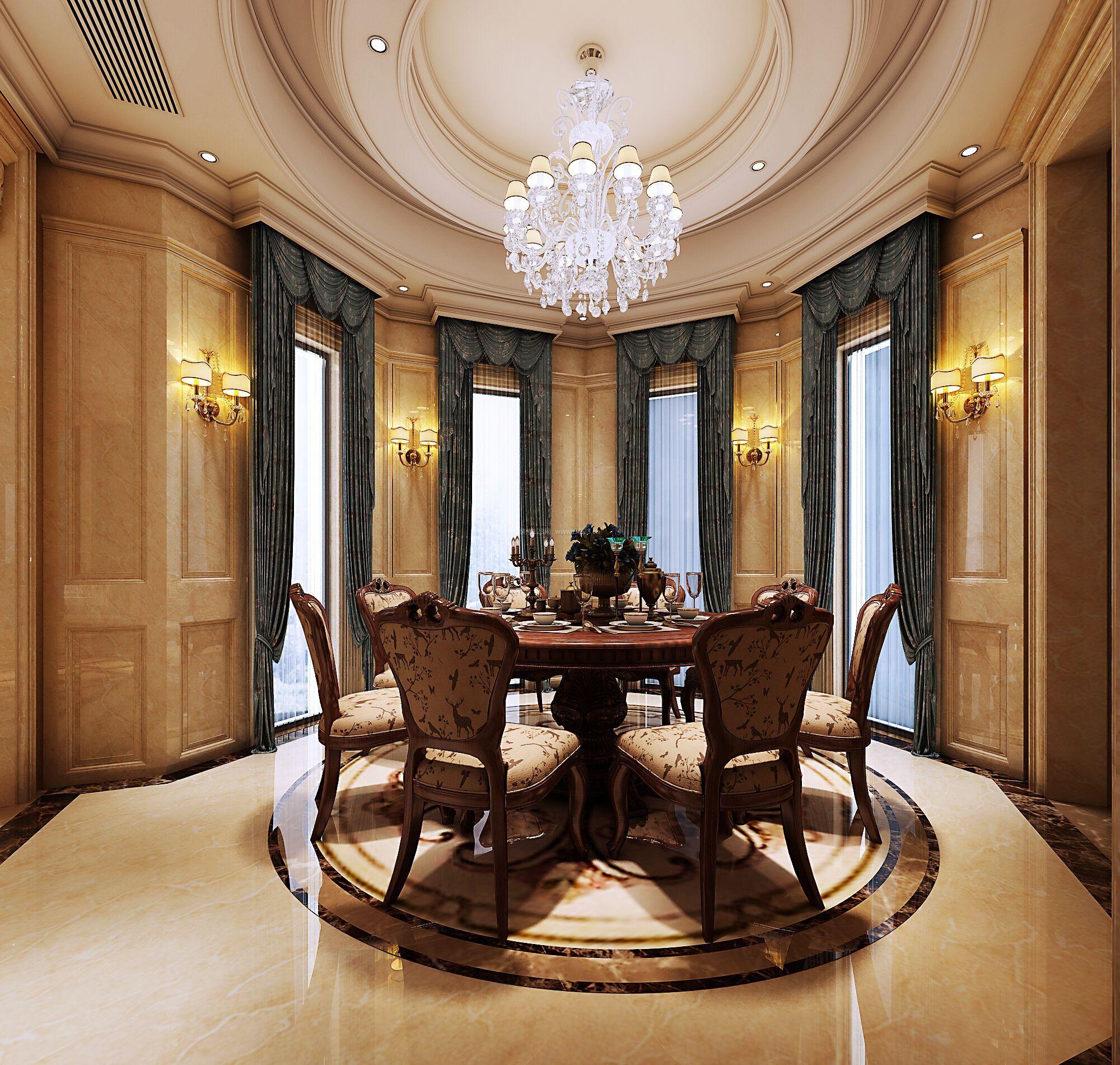 豪华欧式餐厅拼花地砖装修效果图片欣赏图片