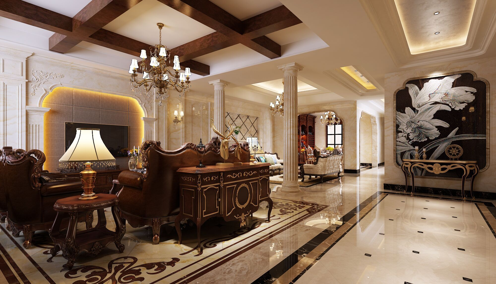 美式别墅客厅木质吊顶装修效果图片