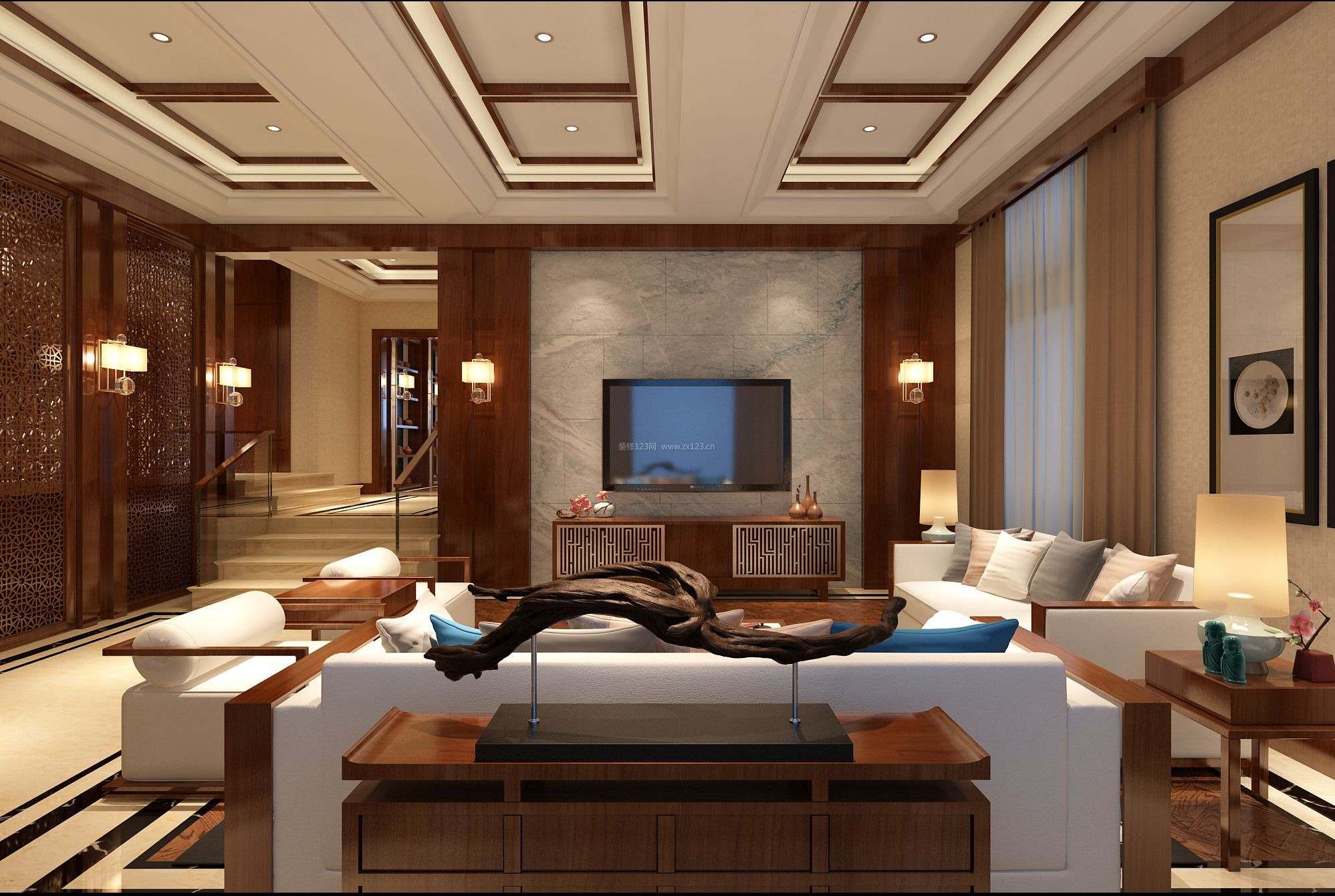 新中式客厅简约大理石电视背景墙装修效果图图片