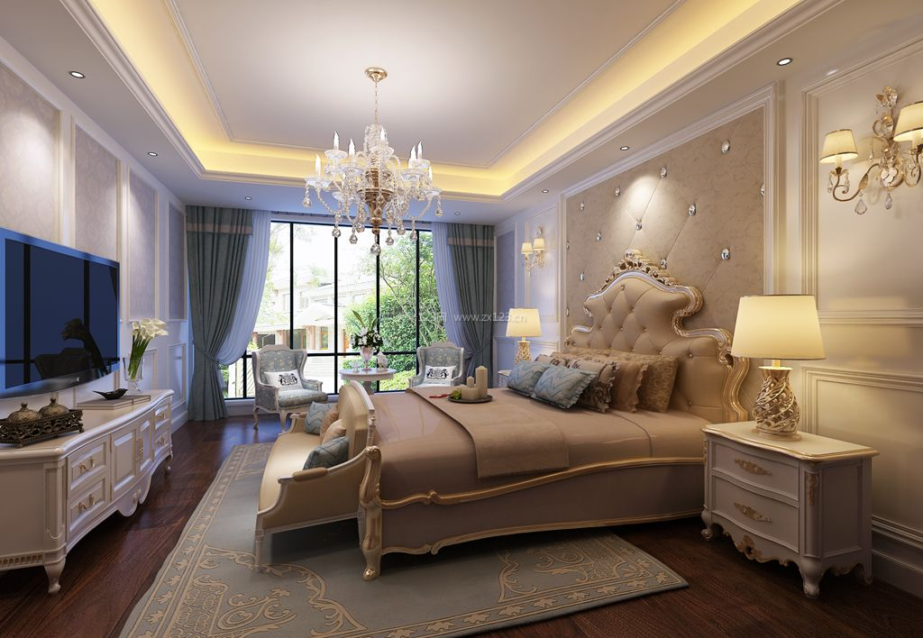 纯欧式风格主卧室内装修效果图图片