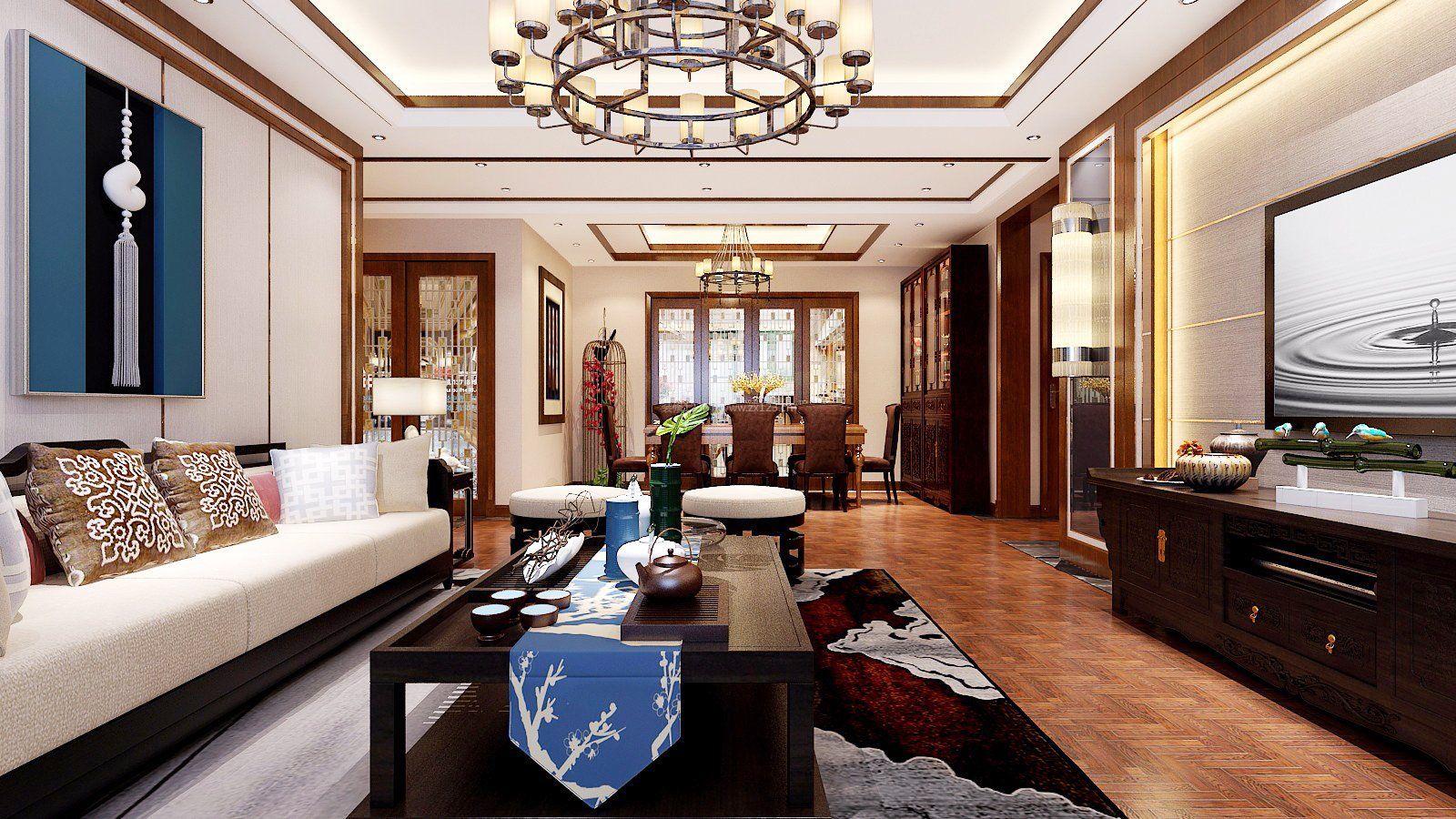 中式仿古客厅装修效果图片大全2017