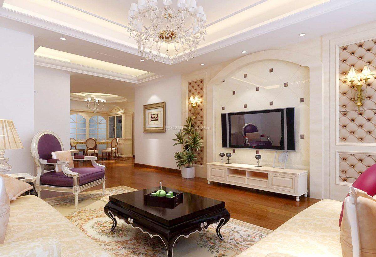 现代欧式风格客厅电视墙装饰效果图大全_装修123效果图