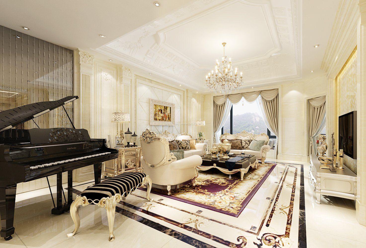 欧式风格客厅地砖拼花效果图 设计本装修效果图图片