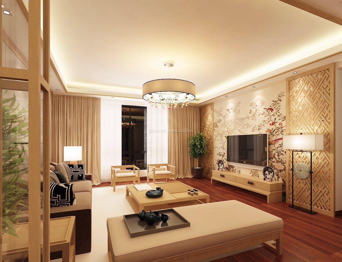 简中式客厅电视墙背景效果图