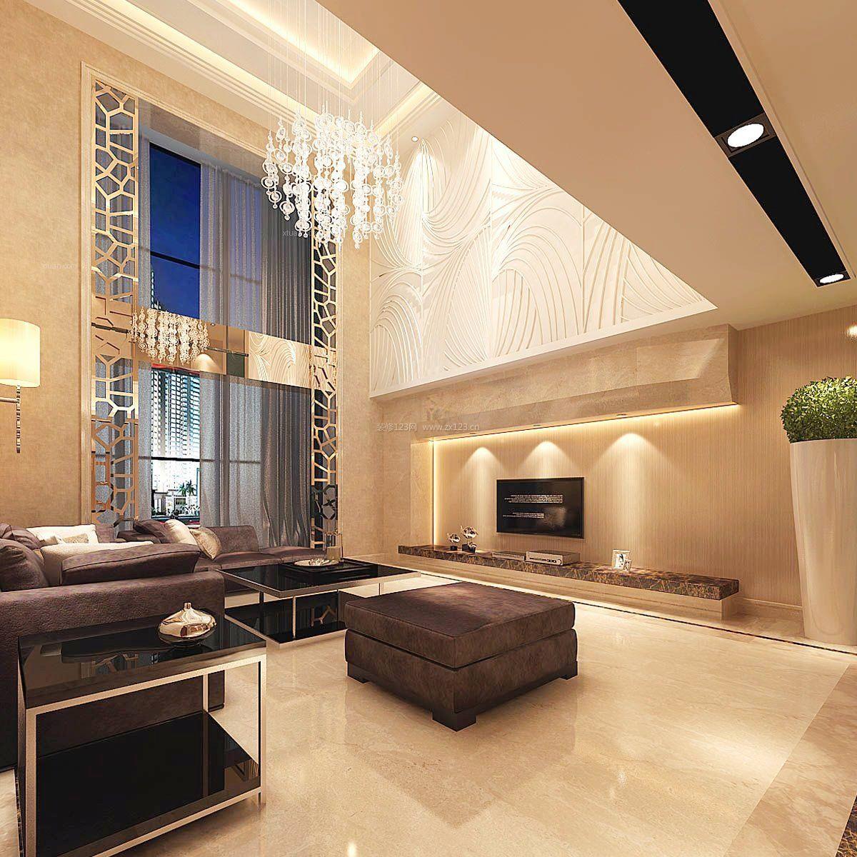 现代简欧风格别墅电视背景墙效果图