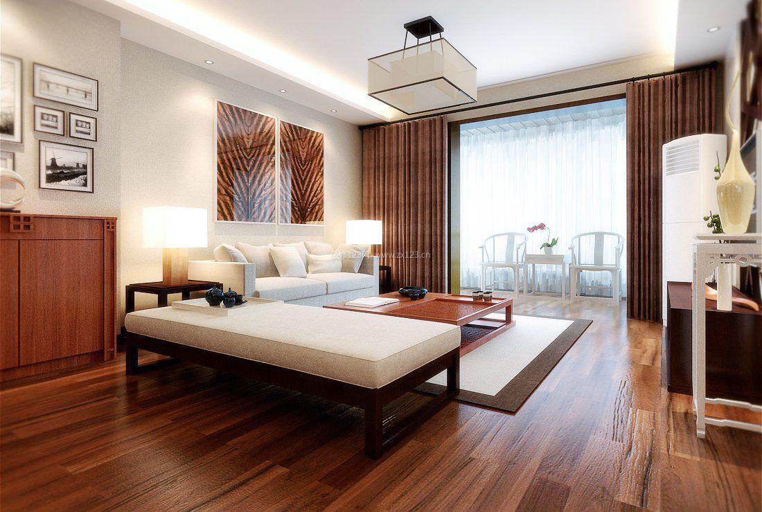 简中式客厅实木地板贴图
