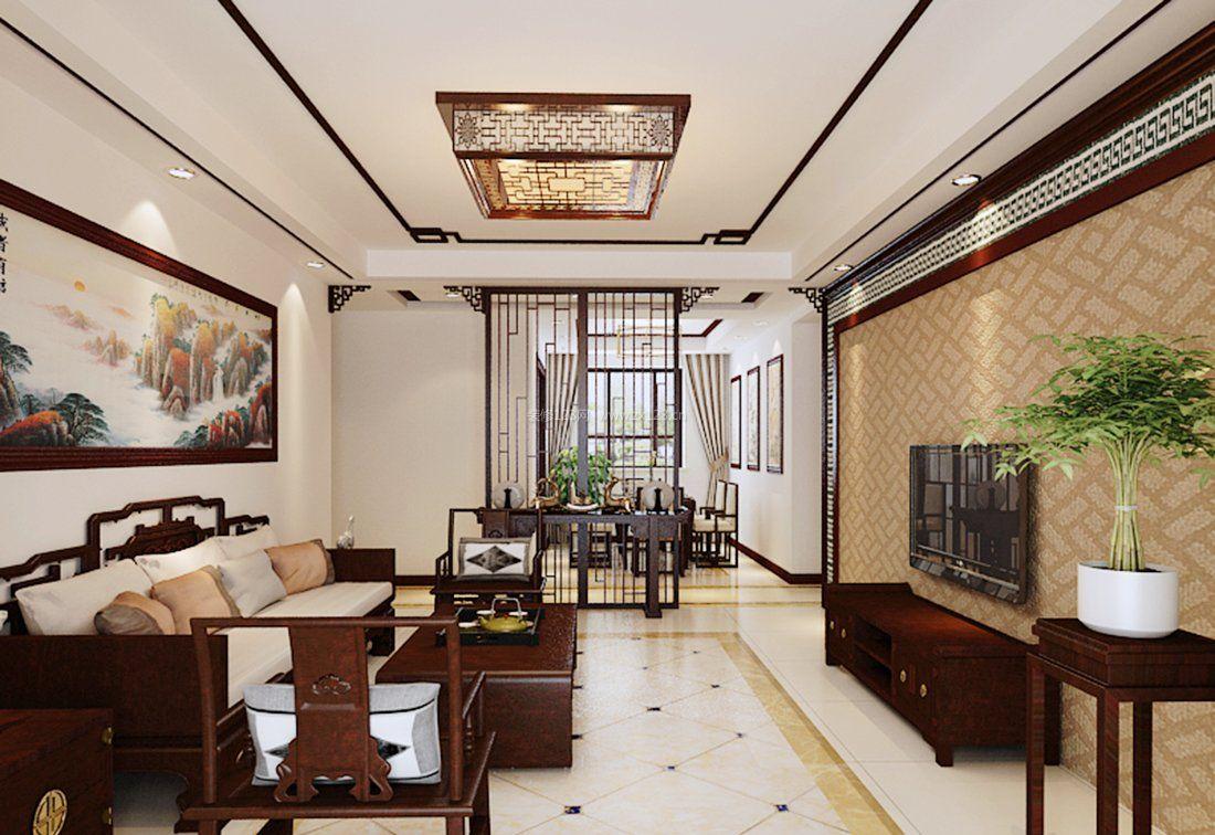 简中式客厅家具搭配设计效果图
