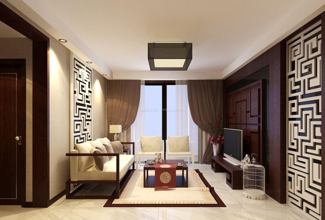 简中式客厅沙发背景墙装修效果图片2017