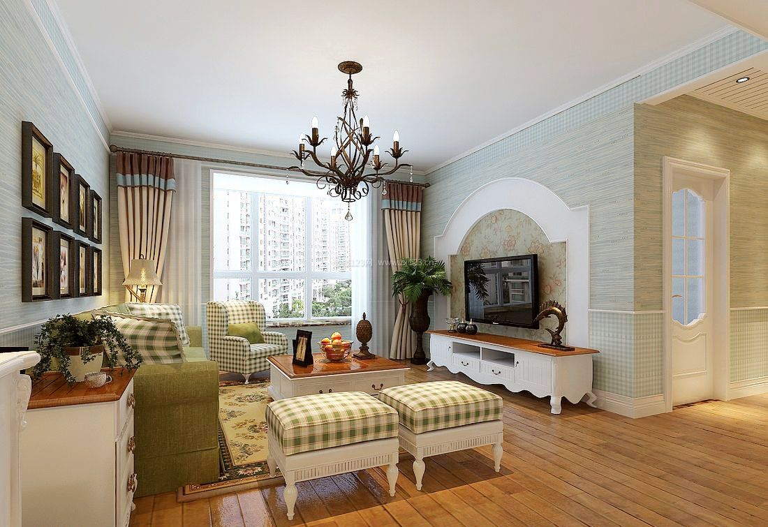现代欧式风格客厅小户型家装设计_装修123效果图