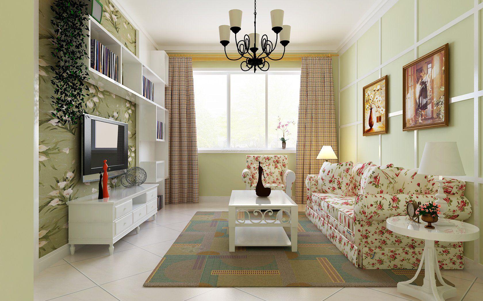 现代欧式田园家居风格客厅小户型效果图片