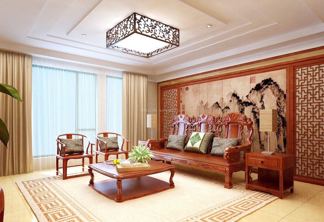简中式客厅红木家具装修效果图片