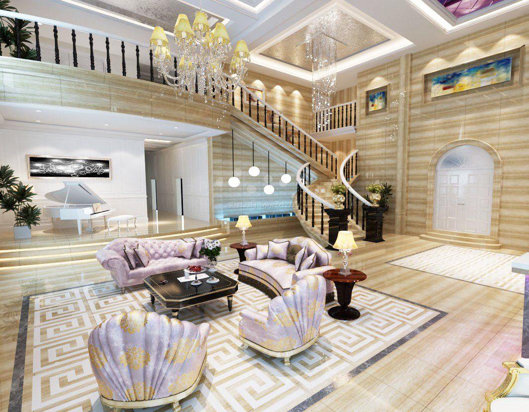 现代简欧式风格别墅客厅装修效果图