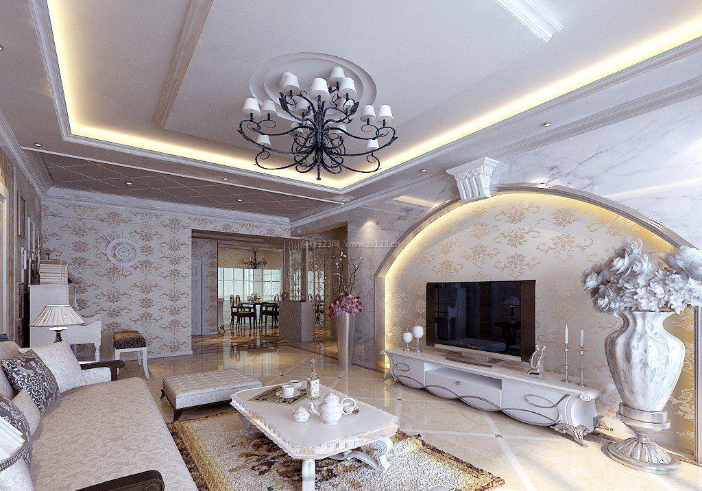 现代欧式风格客厅电视墙造型_装修123效果图