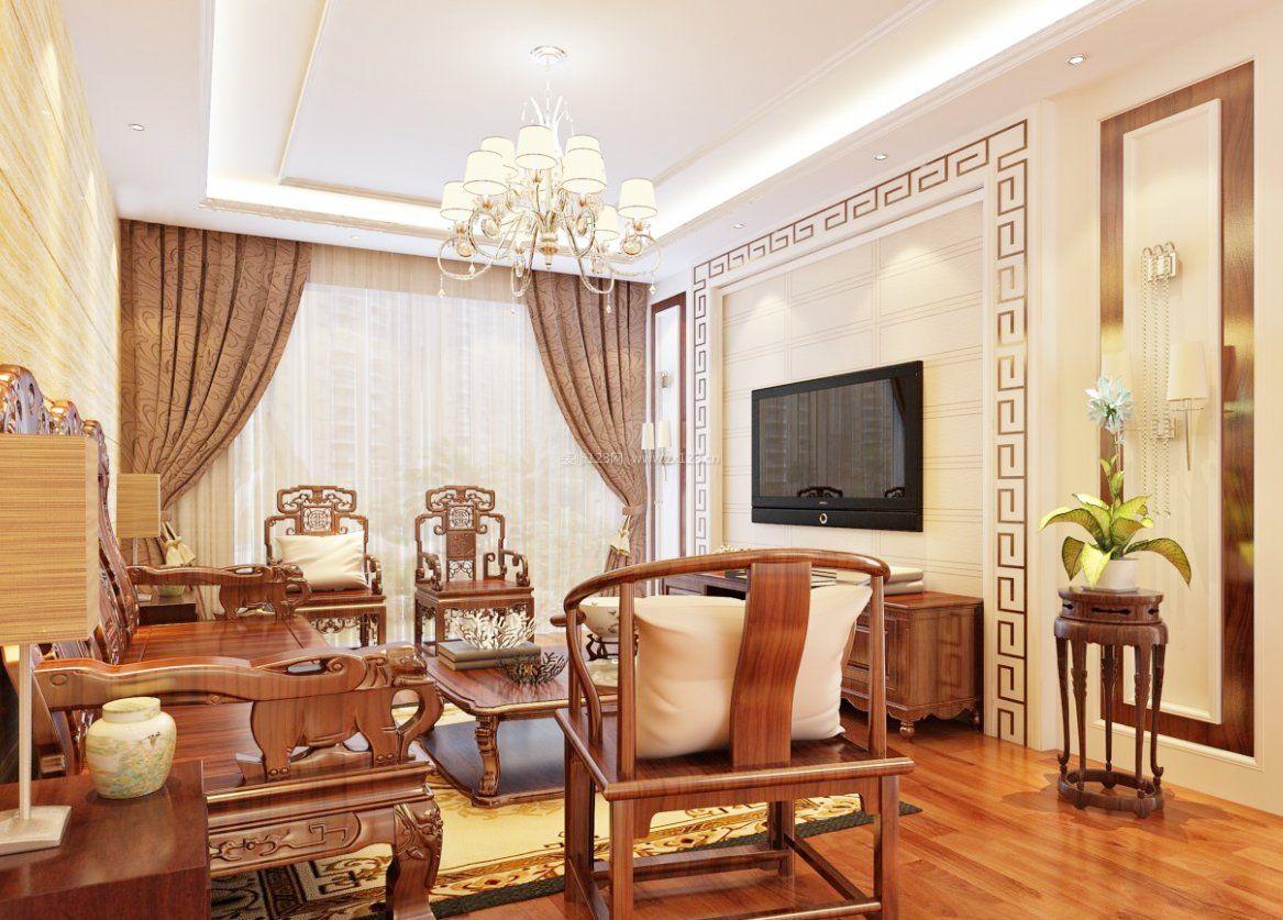 简中式客厅实木沙发装修效果图片