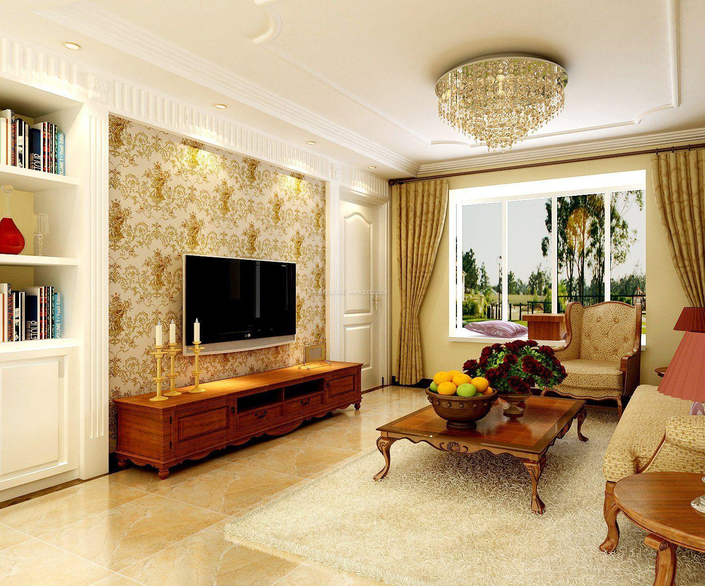 2017简约欧式客厅 电视背景墙墙纸装修效果图大全,图片尺寸:1000×750