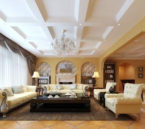 现代欧式风格客厅 吊顶设计装修效果图片