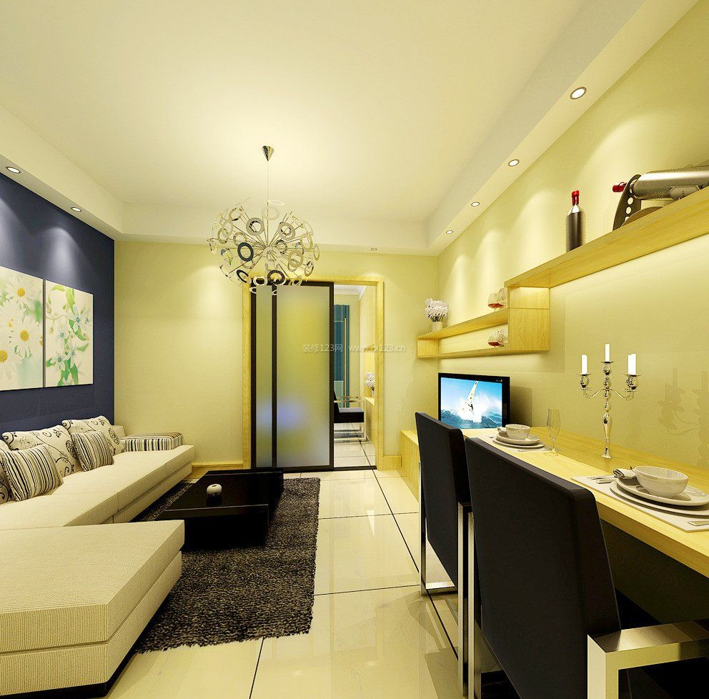 30平单身公寓效果图片大全_装修123效果图