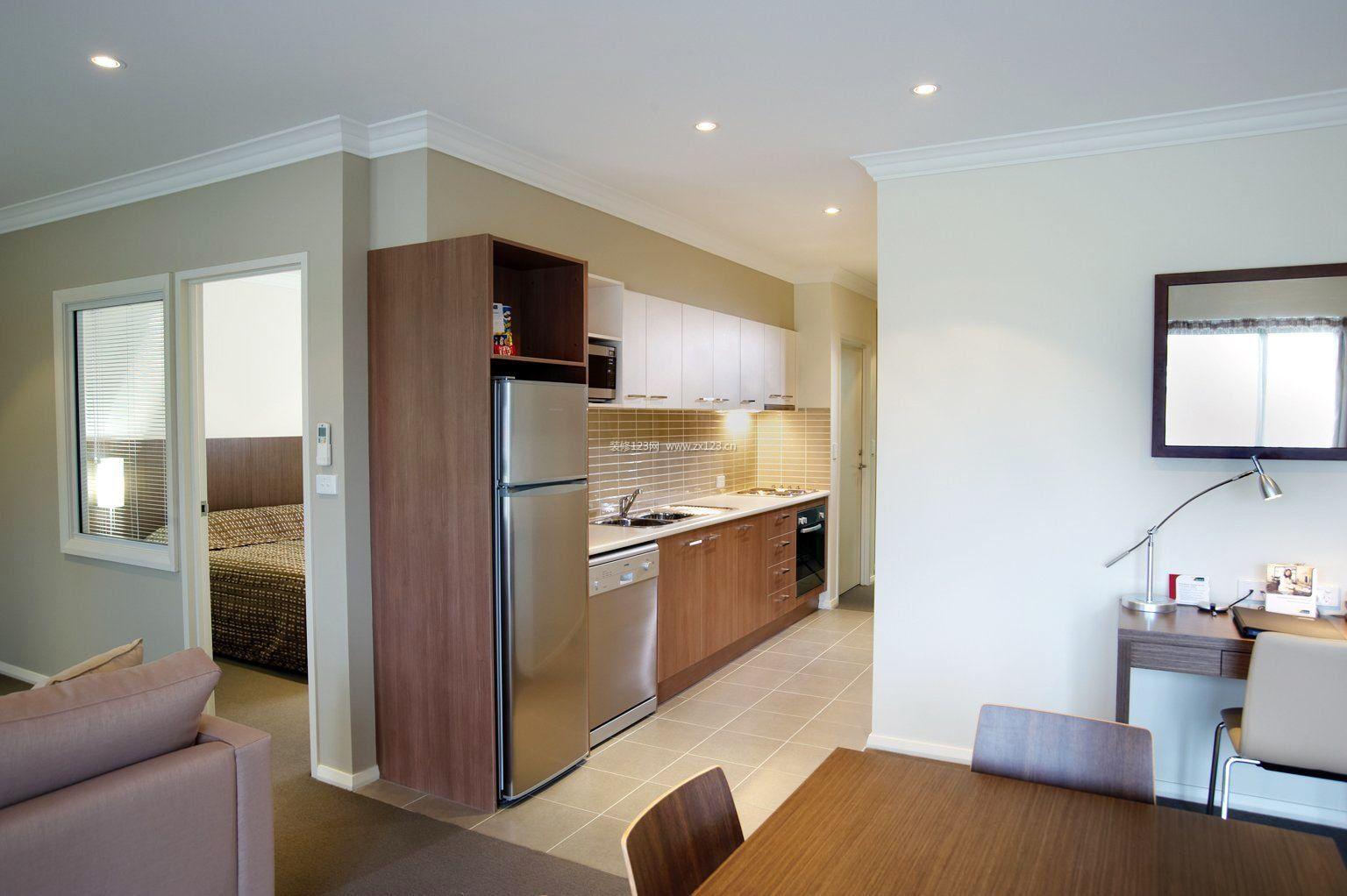 30平单身公寓厨房橱柜效果图_装修123效果图