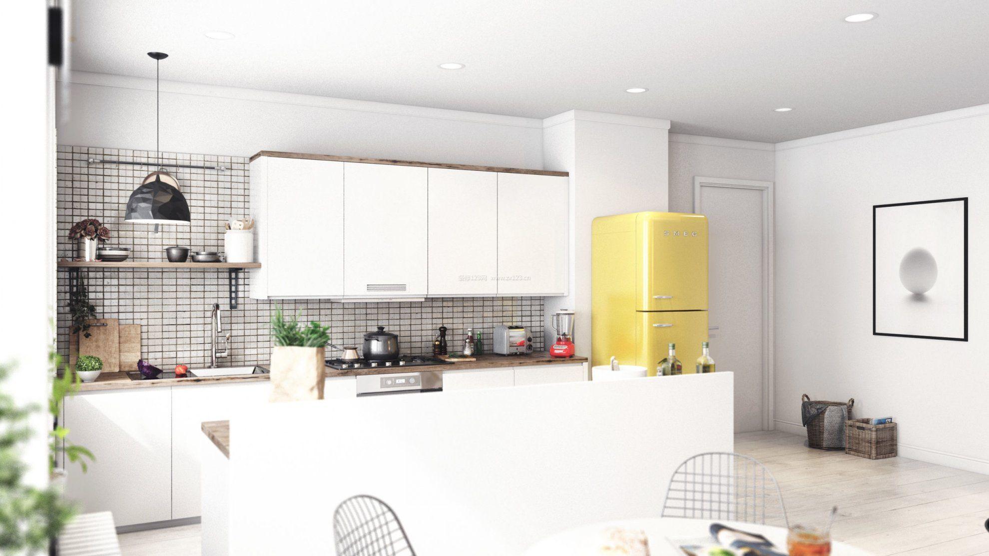 30平单身公寓厨房白色橱柜效果图_装修123效果图