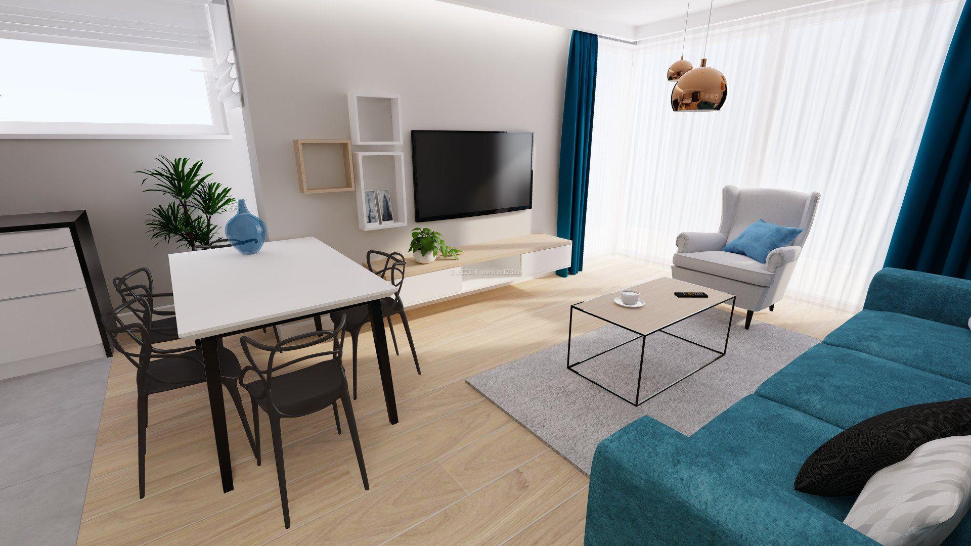 简约时尚30平单身公寓效果图_装修123效果图