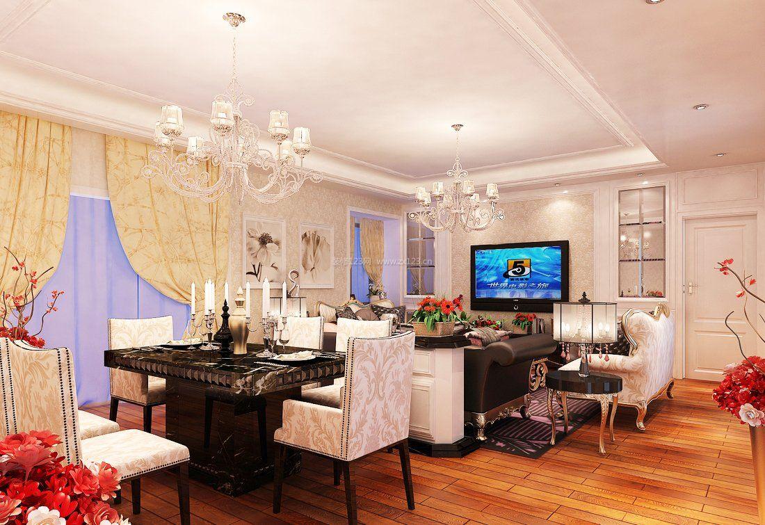 上海欧式家装小户型客厅餐厅吊顶效果图图片