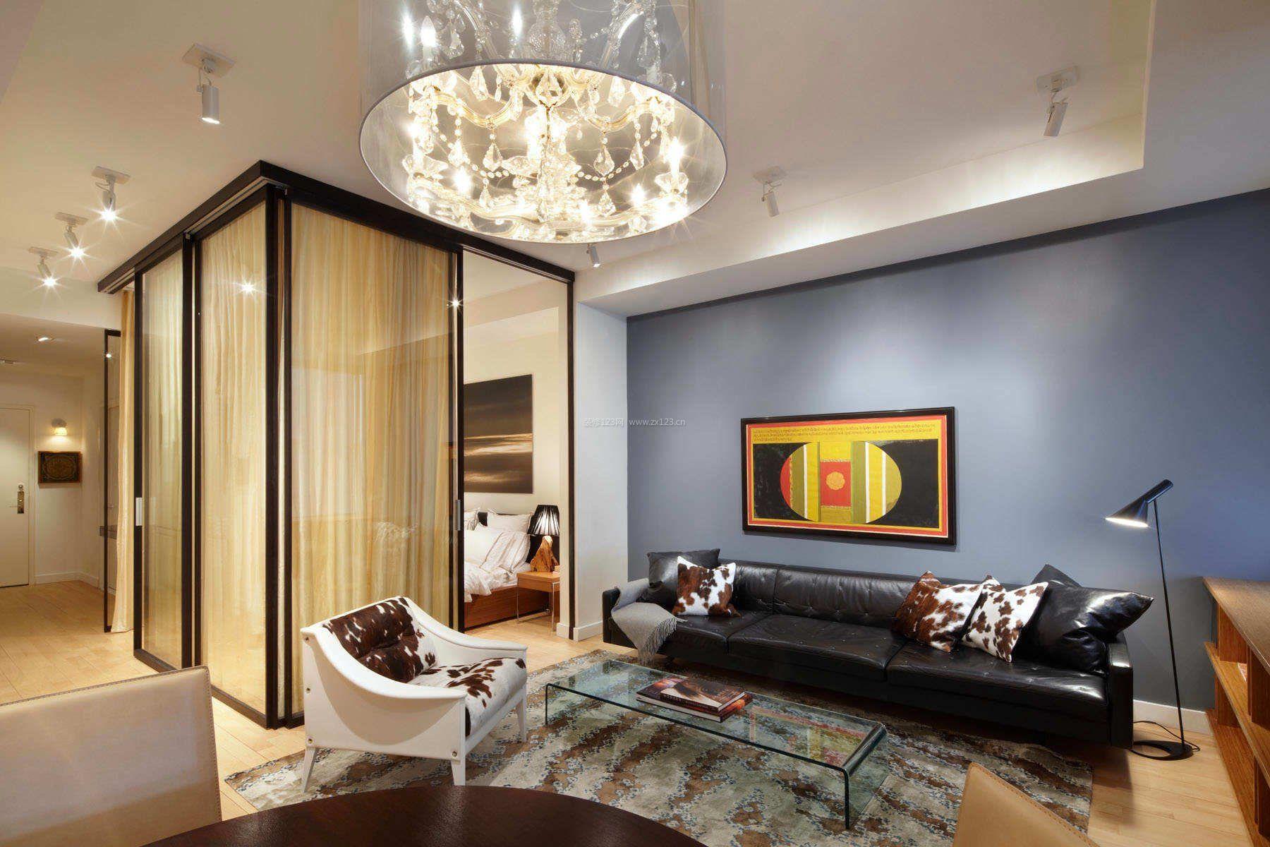 30平米小户型单身公寓客厅效果图_装修123效果图