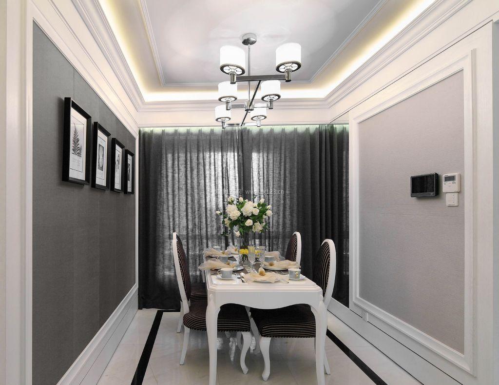 简约欧式小户型客厅餐厅吊顶装修效果图片