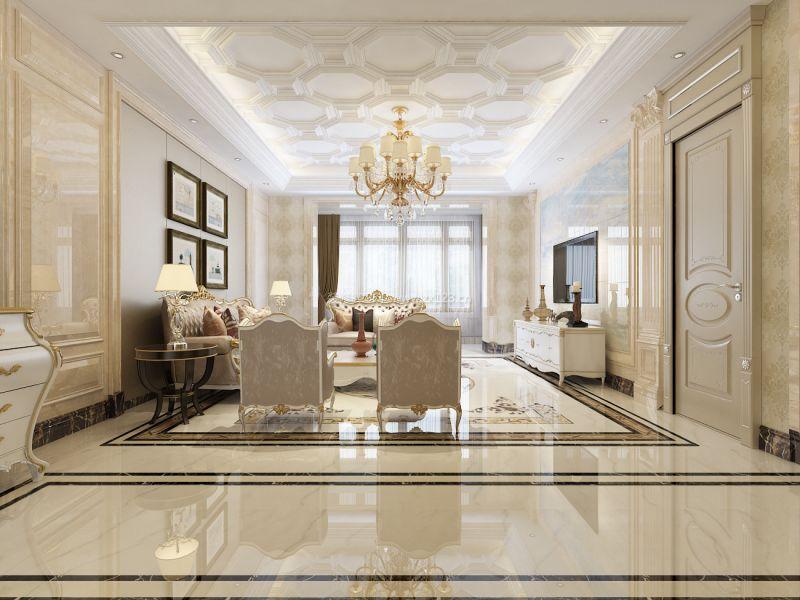 三室欧式风格客厅吊顶造型装修效果图