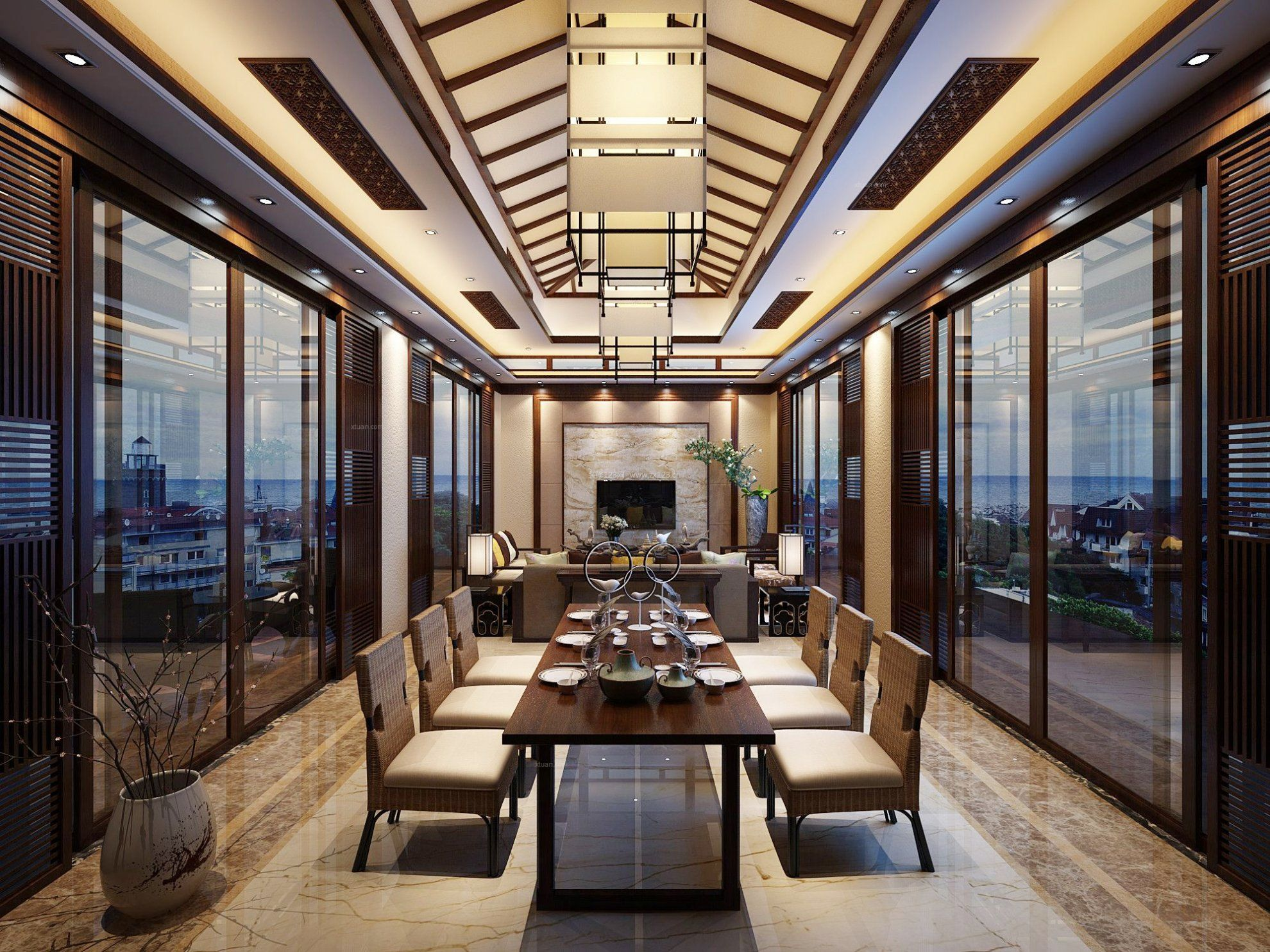 东南亚风格别墅餐厅吊顶效果图片欣赏