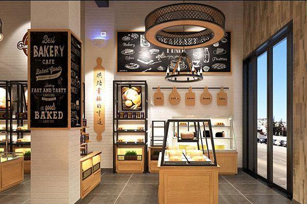 蛋糕店:展柜可以选用天然白橡木,地面仿古代的青砖,墙面为古代的红墙