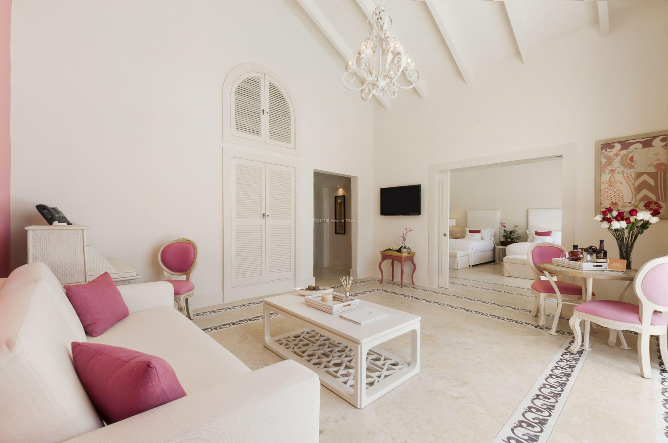 最新客厅卧室一体装修效果图大全