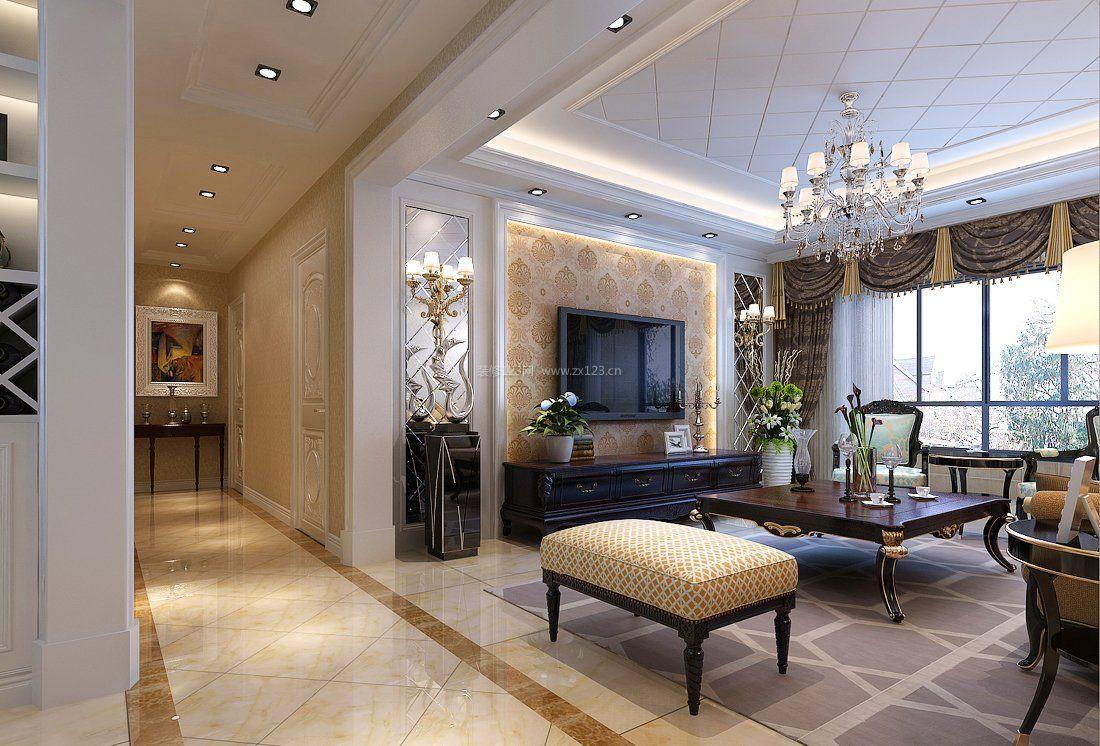 家装客厅地面瓷砖装修设计效果图大全