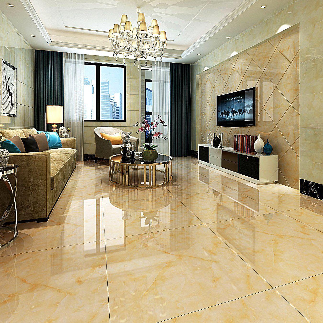 客厅地面瓷砖装修效果图片2017