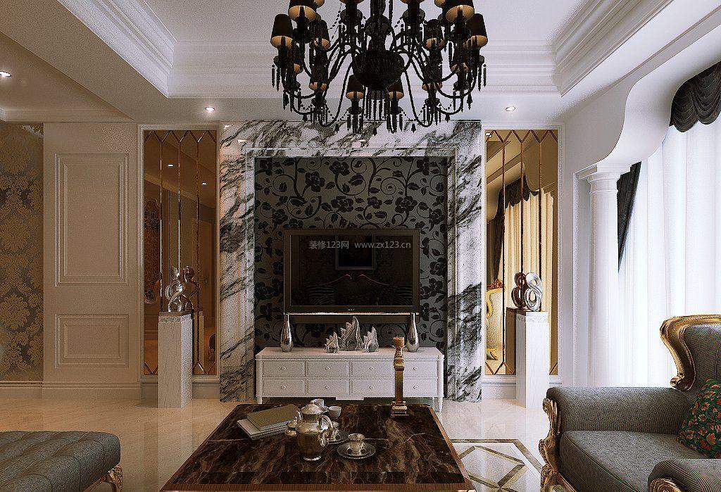 房屋客厅地面瓷砖装修效果图片