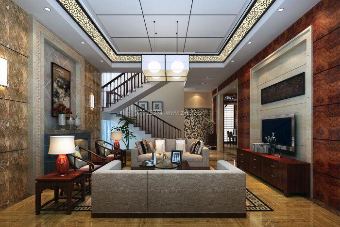 简欧式别墅客厅集成吊顶装修效果图图片